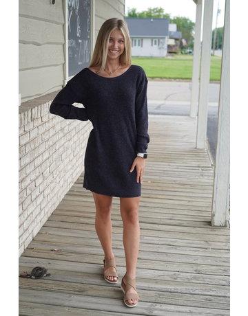 Hem & Thread Boat Neck Back Bow Tie Sweater Dress