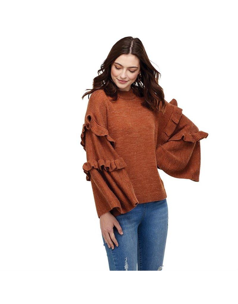 Ramsey Ruffle Sweater Rust