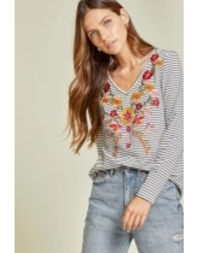 Savanna Jane Floral Stripe Knit Top