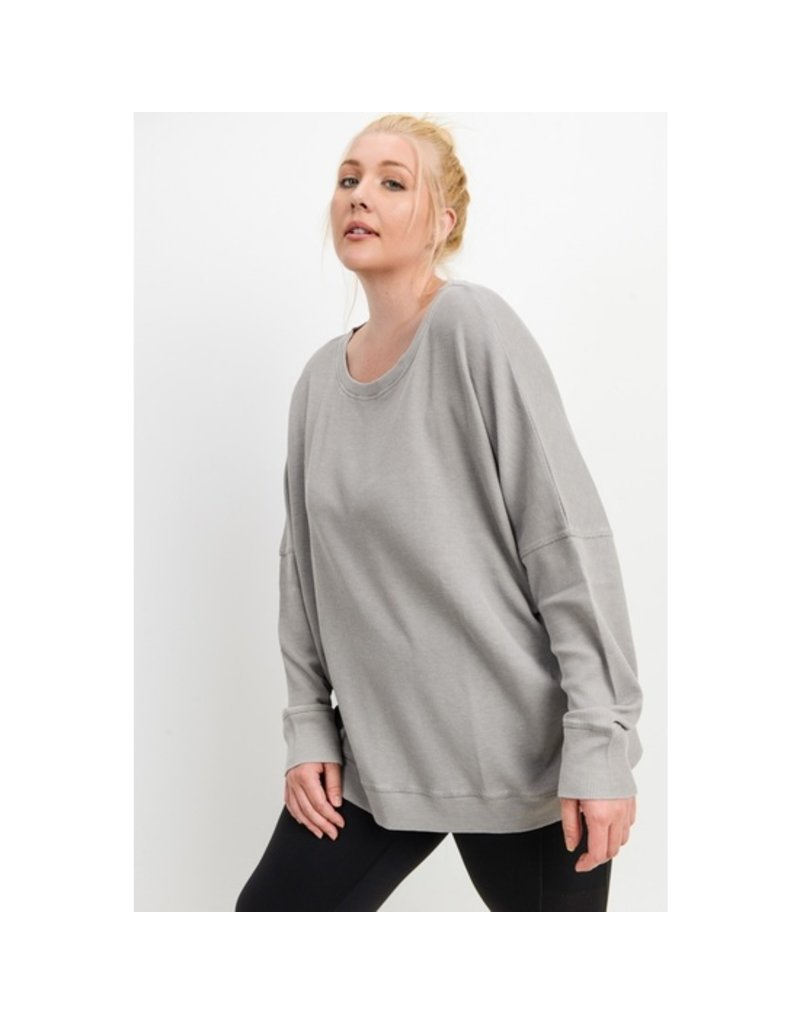 Mono B Waffle Knit Roundneck Pullover