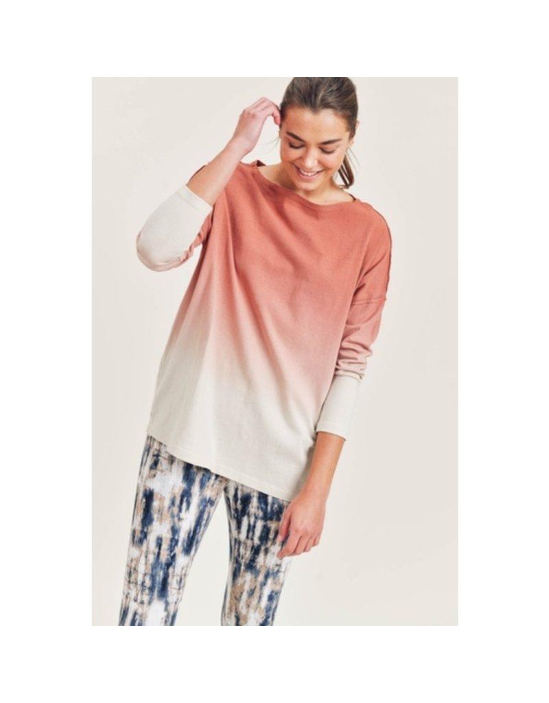Mono B Cotton Ombre LS Top
