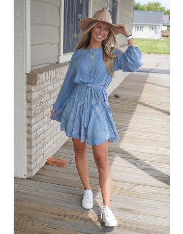 She & Sky LS Chambray Dress w/Flare Skirt