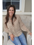 She & Sky Smocked LS Woven Printed Top