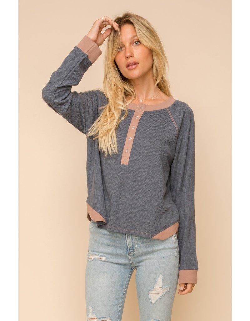 Hem & Thread Texture Knit Crop Boxy Henley Top