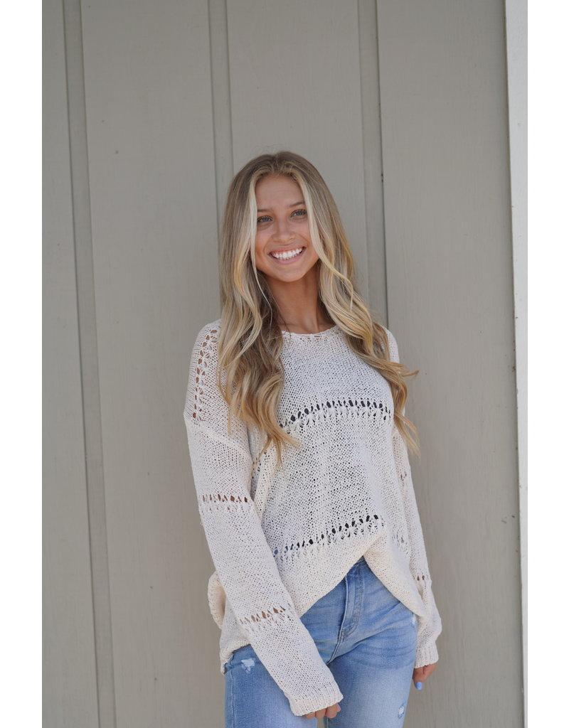 Pointelle Vneck Sweater