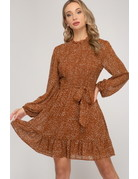 She & Sky LS Printed Smocked Woven Dress