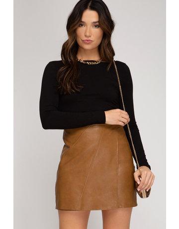 She & Sky Faux Leather Wrap Skirt