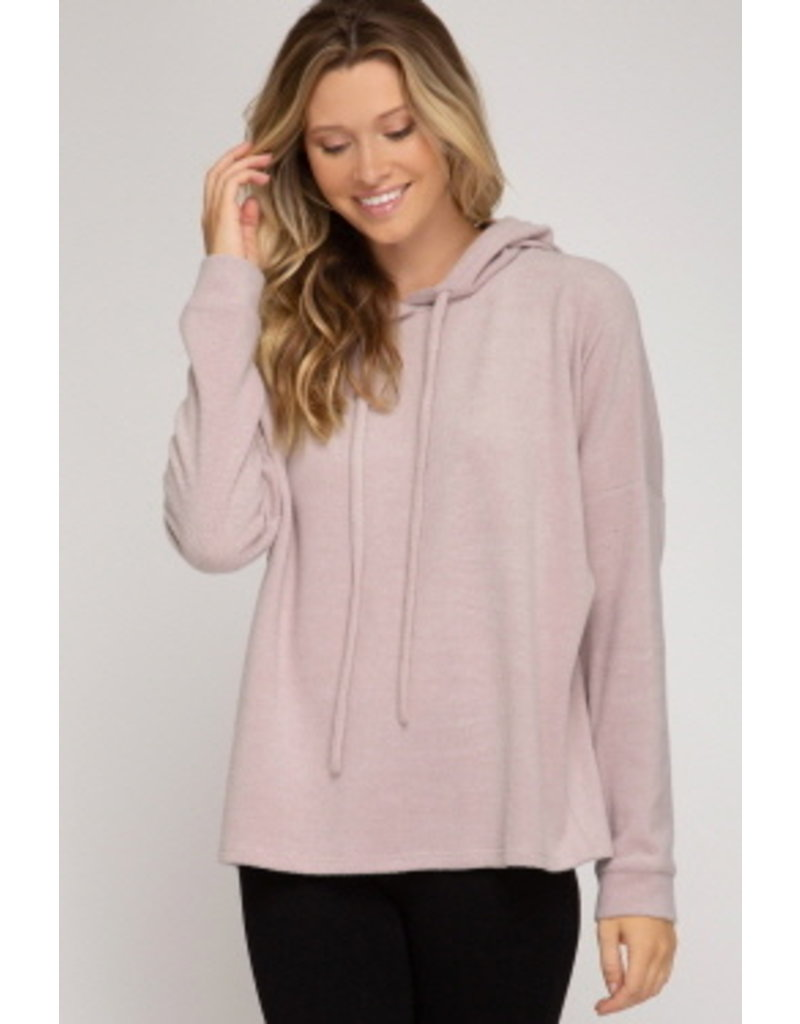 She & Sky LS Brushed Knit Hoodie