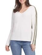 Tribal Sportswear LS Vneck Sweater w/Contrast Back