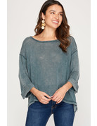 She & Sky 3/4 Cuff Sleeve Dyed Hi-Low Top