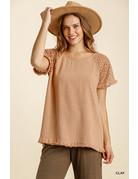 Umgee USA Linen Floral Crochet SS Top