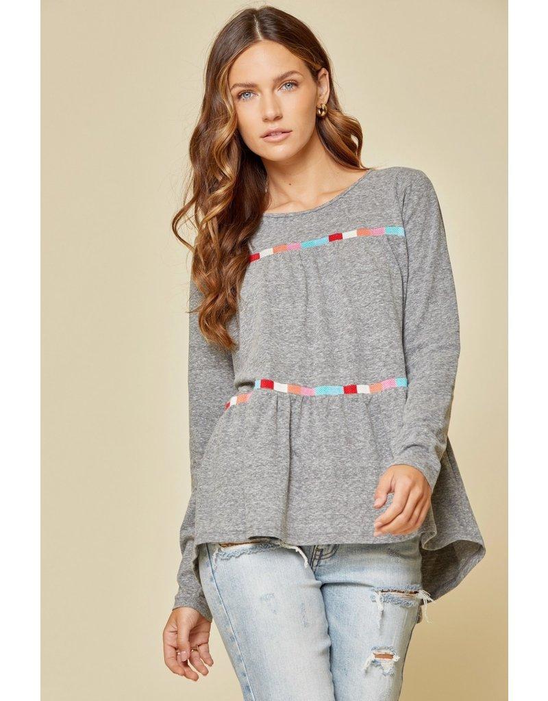 Savanna Jane Round  Neck LS Embroidered Top