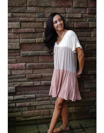 Color Block Ruffle Mini Dress