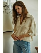 By Together Knit Rib Oversized Placket Crop Top