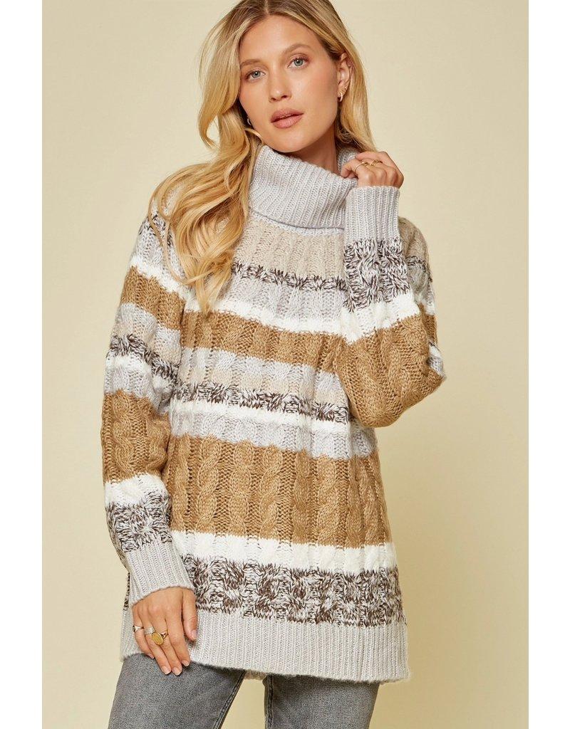 Savanna Jane Color Block Cable Knit Sweater