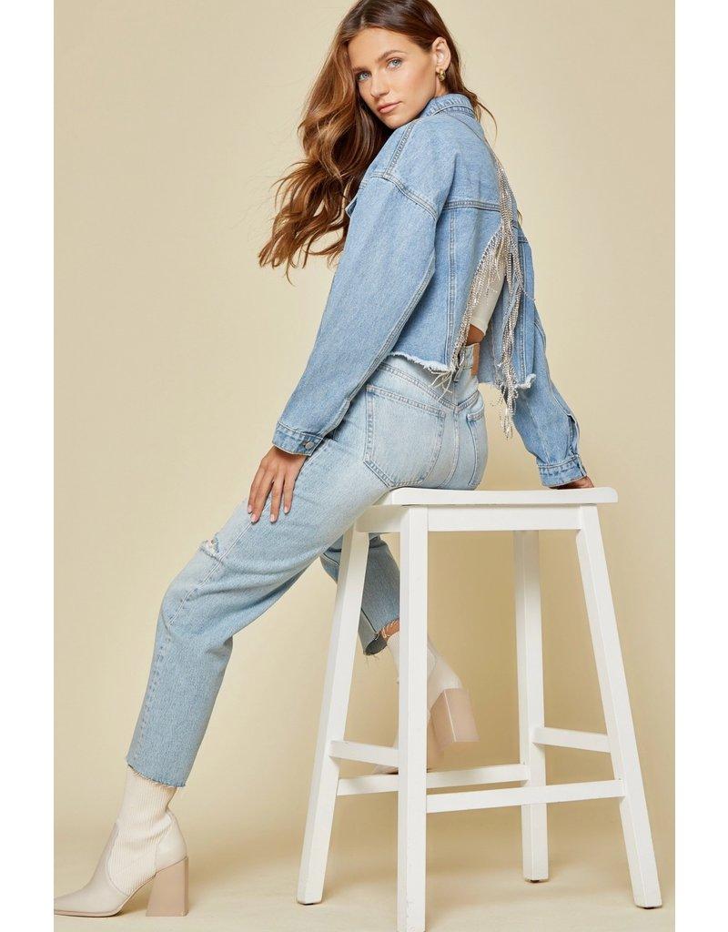 Savanna Jane Diamond Trim Back Jean Jacket