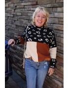 Savanna Jane Leopard Color Block Sweater