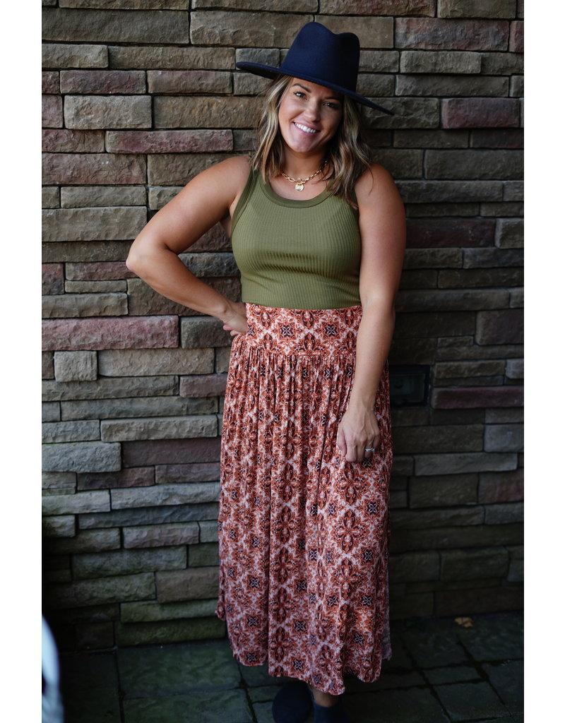 Easel Printed Gauze Smocked Skirt