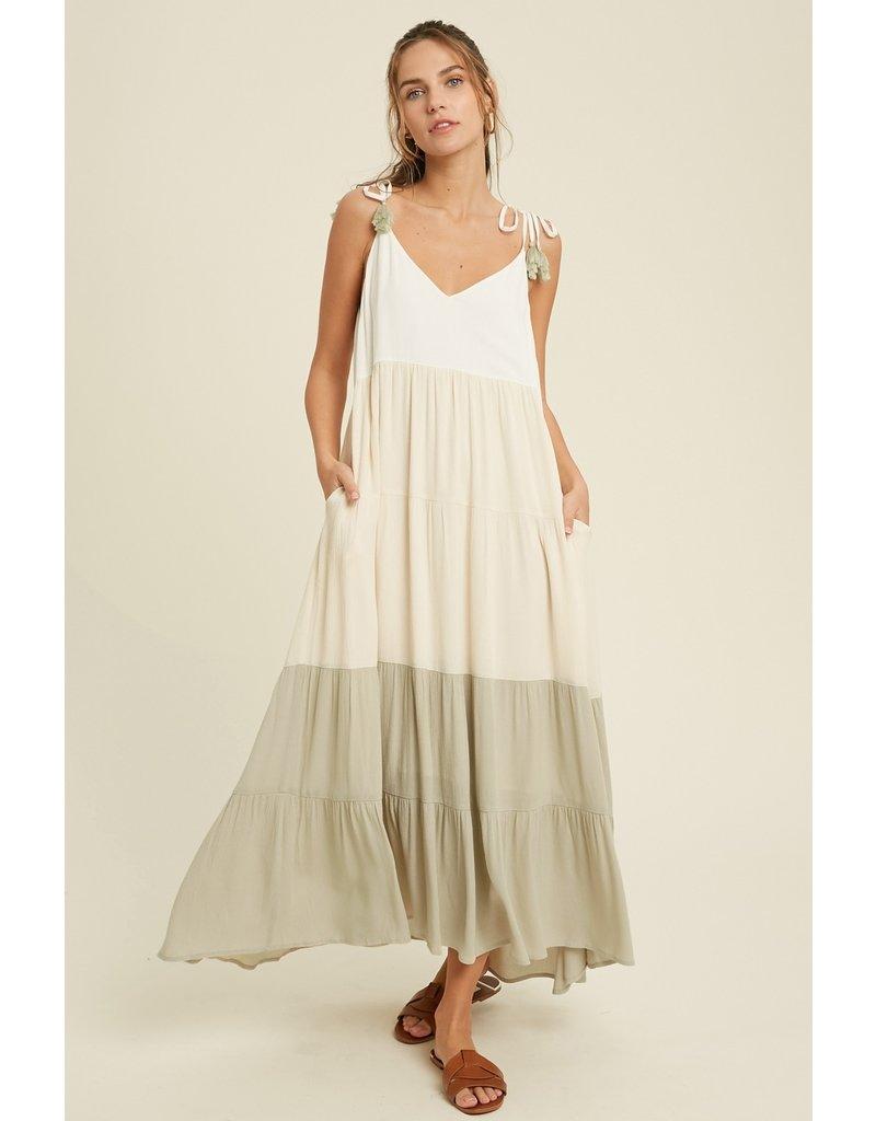 Casual Color Block Maxi Dress