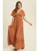 Flutter Sleeve Tiered Maxi Dress