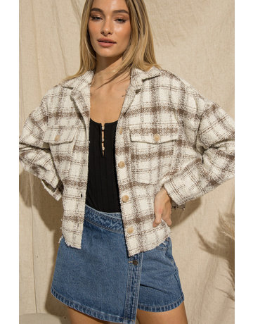 Wellmade Inc Button Up Plaid Jacket w/Front Pockets