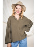 VeryJ Button Down Collared Blouse