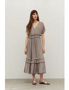 Grade & Gather Ruffled Satin V-Neck Dress