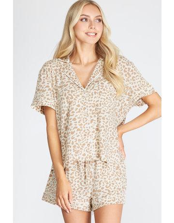 She & Sky Animal Print Knit PJ Set