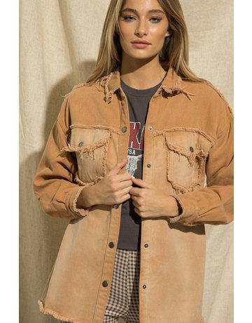 Wellmade Inc Distressed Hem Button Up Jacket