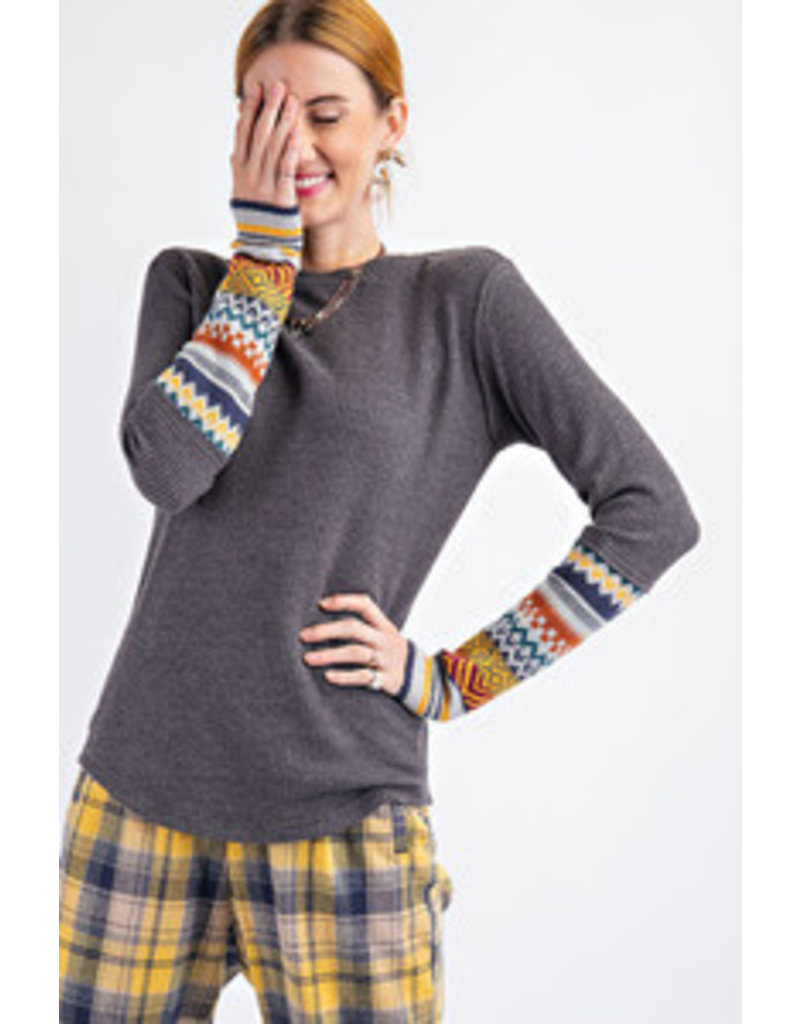 Easel Tribal Knitted Sleeve Top