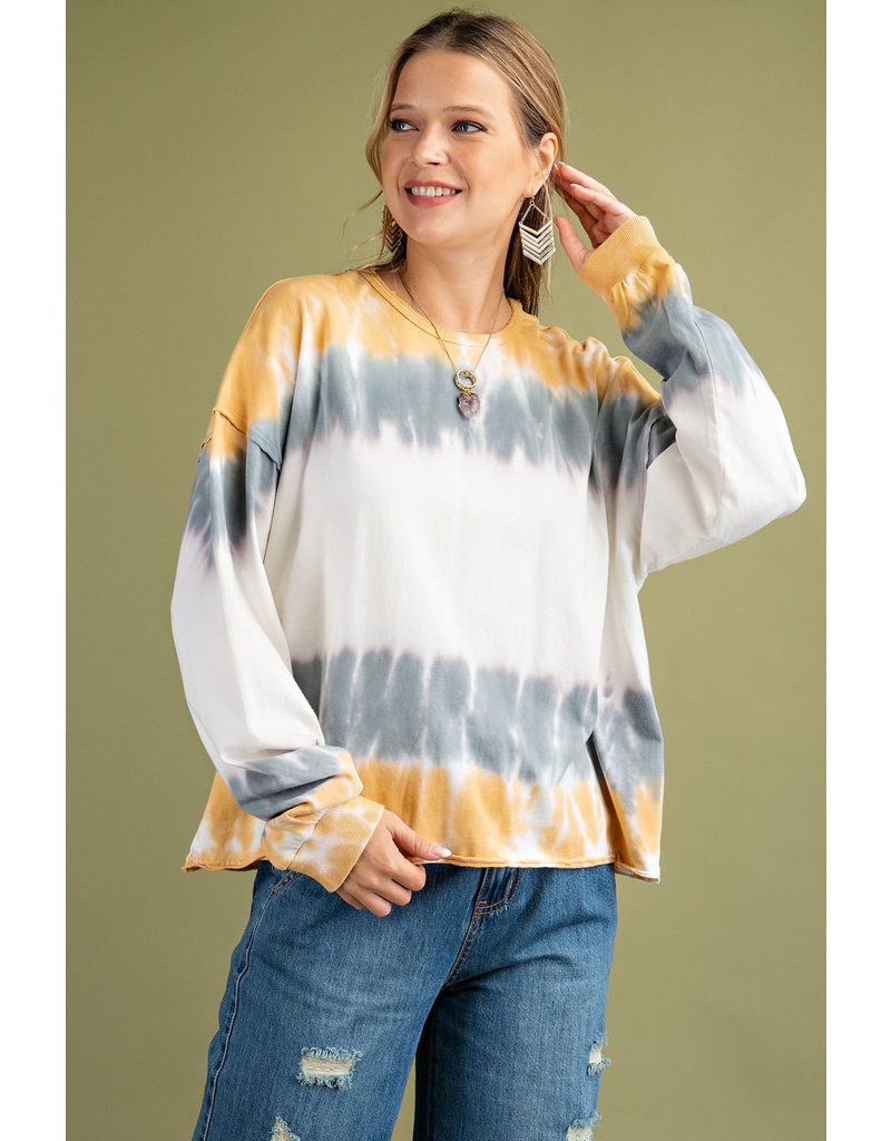 Easel LS Tie Dye Washed Top