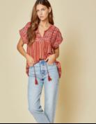 Savanna Jane Striped Embroidered Babydoll Top