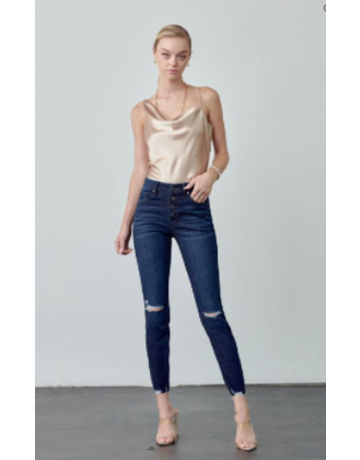 KanCan Mid Rise Exposed Button Ankle Skinny