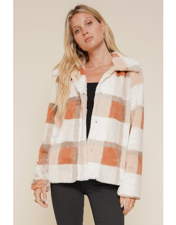 Hem & Thread Side Pocketed Plaid Faux Fur Jacket