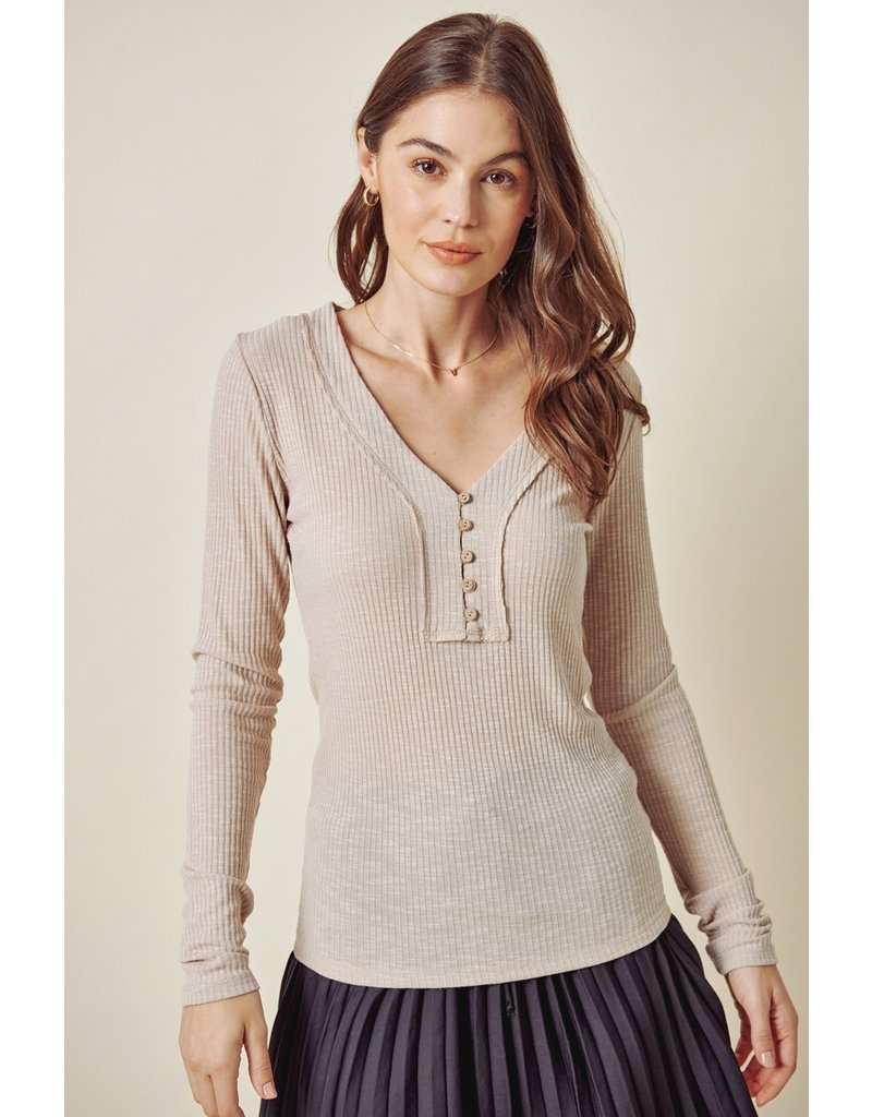 Fitted Ribbed Button Up Top