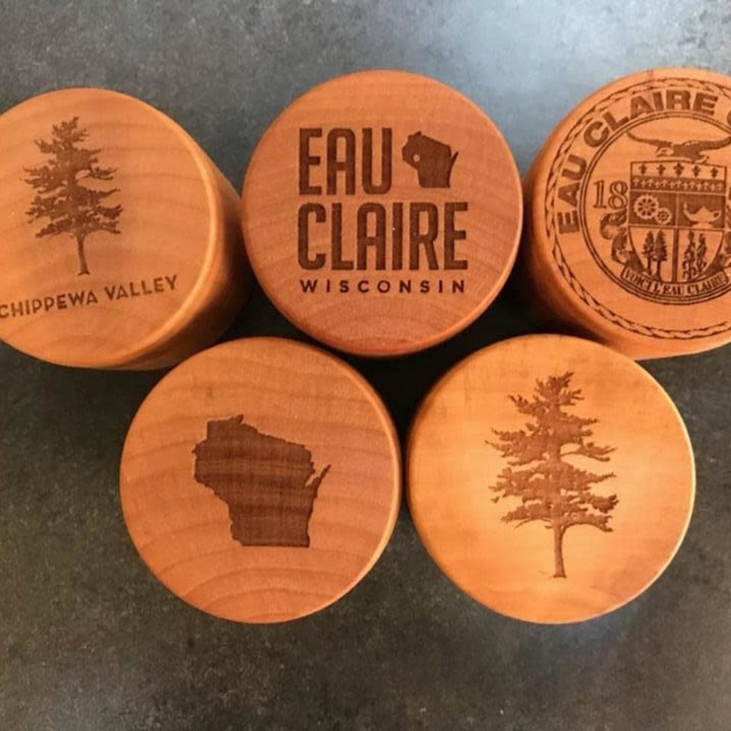 Create Laser Arts Small Round Wood Box - Eau Claire County Seal