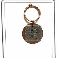 Blue Moon Studios Square Pewter WI Home Keyring