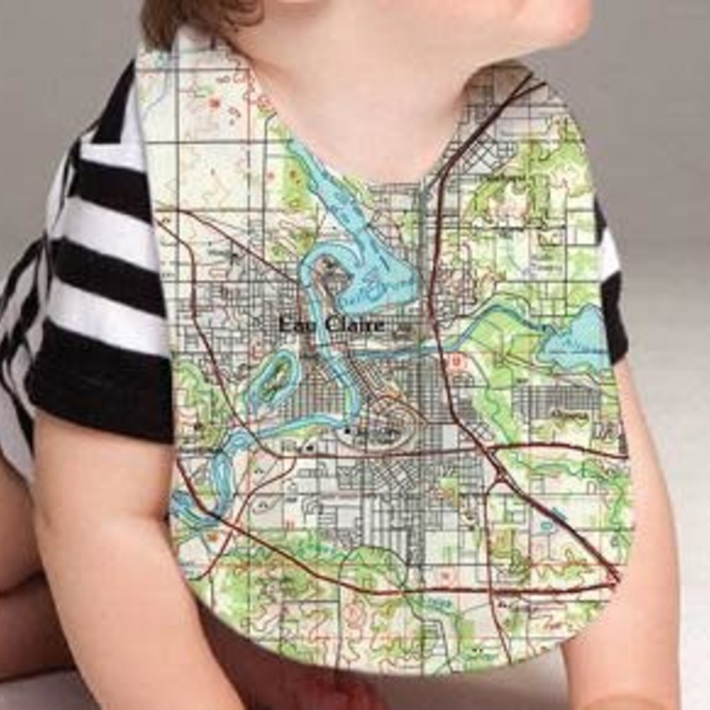 Volume One Baby Bib - Eau Claire Map