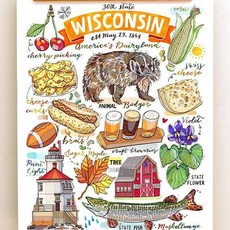 LouPaper Wisconsin Collage Print Veritcal (11x14)