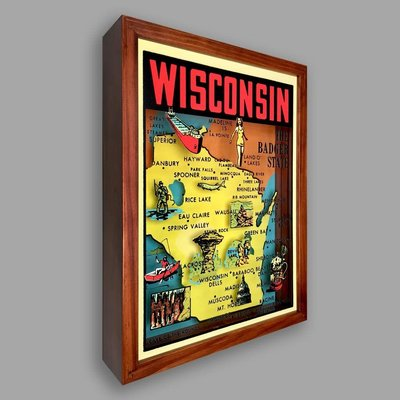 Artovision Large Shadowbox Art - Wisconsin