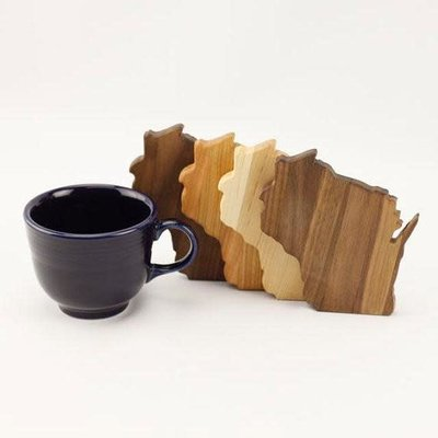 Volume One Wisconsin Wood Coaster Set - Assorted Wood Mix