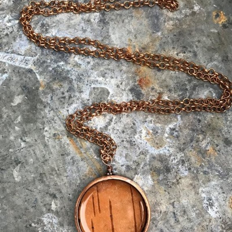 Nature of Art Birch Bark Pendant Necklace