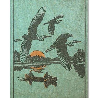 Volume One Wood Postcard - Herons in Flight