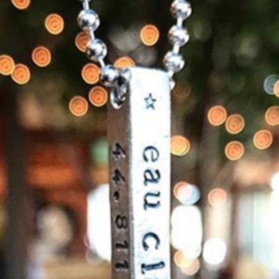 Blue Moon Studios GPS Coordinate Bar Necklace
