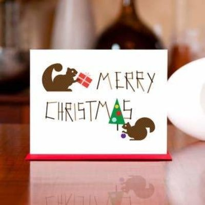 Man vs. George Designs Greeting Card - Nuts for Christmas Squirrel