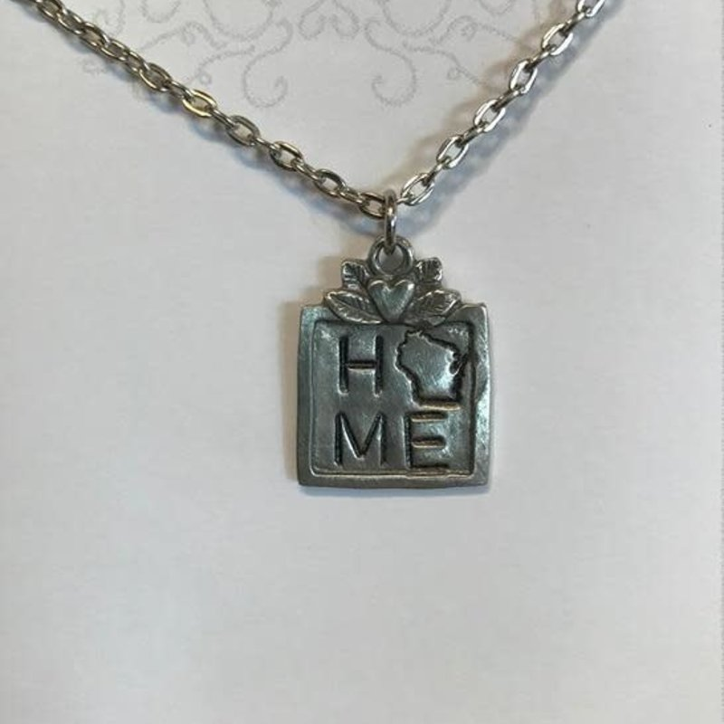Blue Moon Studios Square Pewter WI Home Necklace