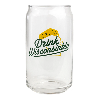Drink Wisconsinbly Beer Can Glass - Drink Wisconsinbly Cheesehead