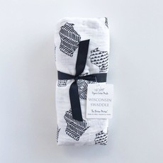 The Bitten Mitten Wisconsin Swaddle Blanket - Black