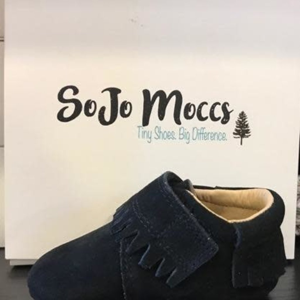 SoJo Moccs Baby Moccasins - Black Suede