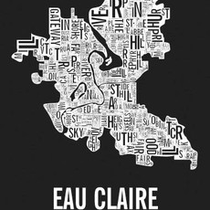 Volume One Eau Claire Neighborhoods Print in Black